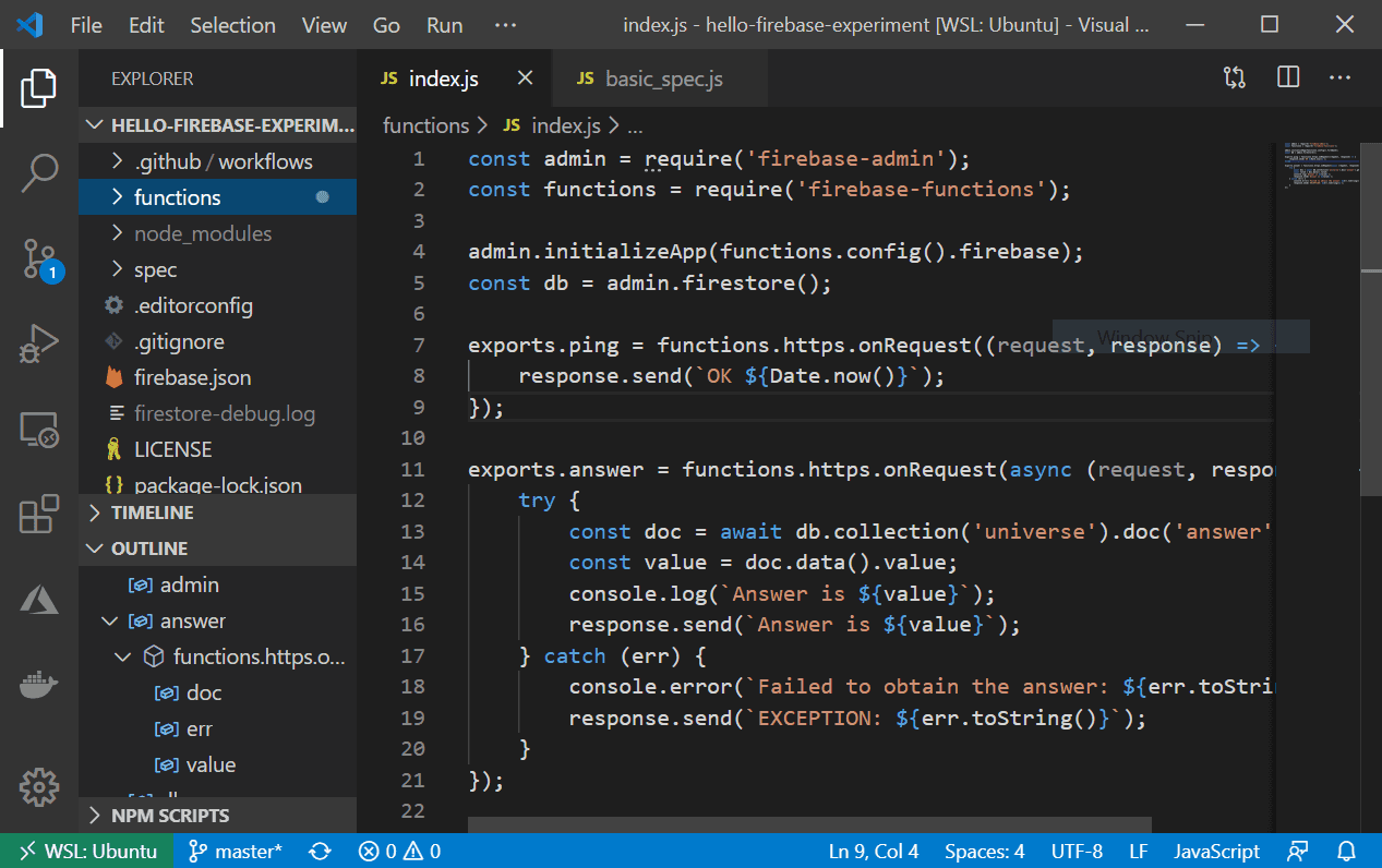 Hello Firebase project in Visual Studio Code editor